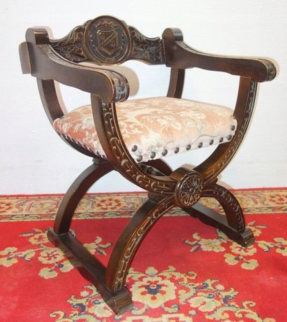 Antyk Krzesło Fotel Nożycowy Rzymski