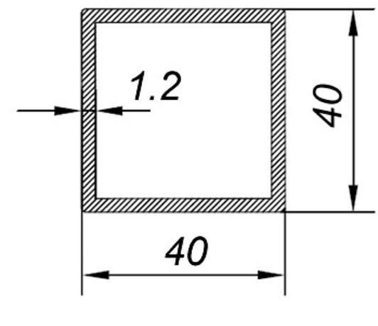 Алюминиевая квадратная труба 40х40х1,2 Анод 15 микрон