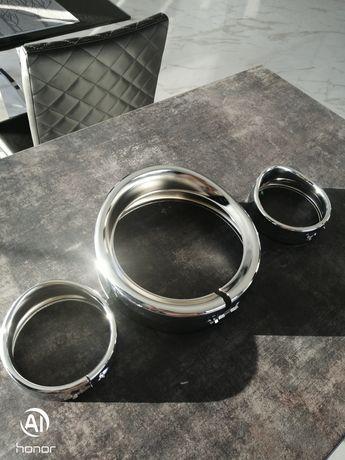 Ramki daszki lamp główny 7cal i 4.5cal lightbary szerokie metal Harley