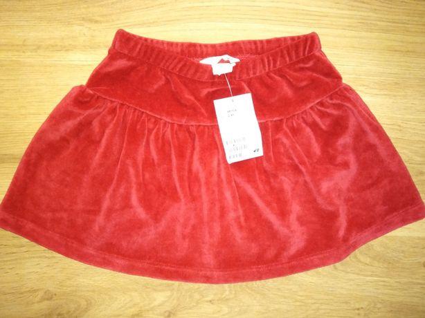 H&M spódniczka czerwona welur 98/104cm