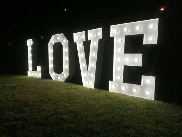 Napis love świetlny LED