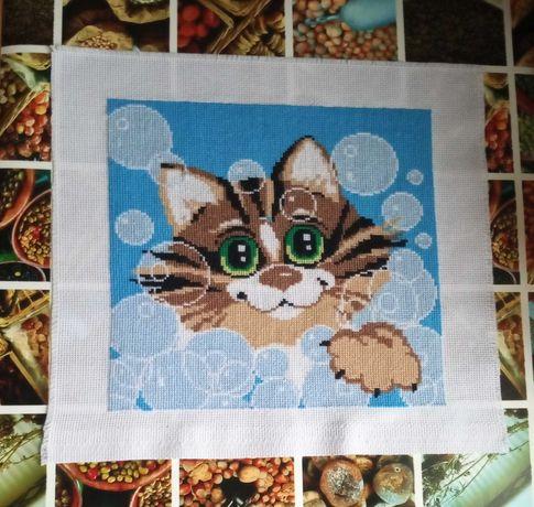 """Вишивка хрестиком ,, Кіт у бульбашках """" ."""