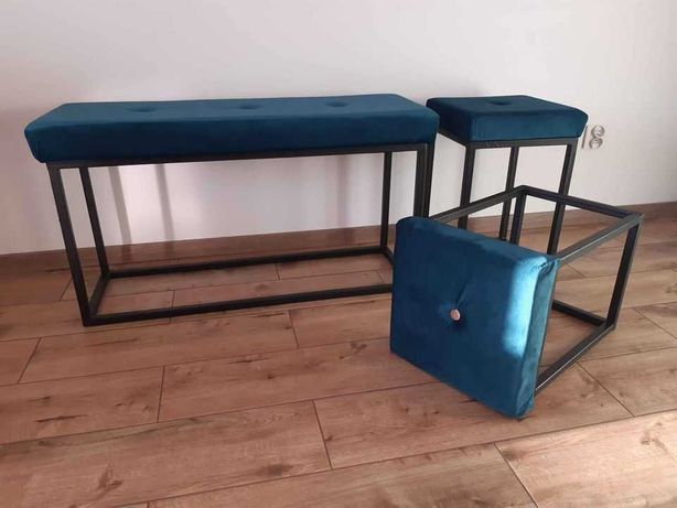 Ławka/ławeczka i 2 taborety w stylu industrialnym zestaw
