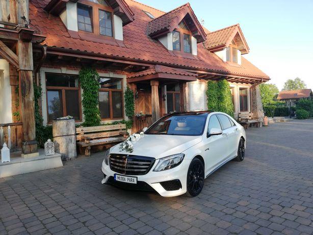 Samochód Auto Limuzyna do ślubu Mercedes S63L AMG biały