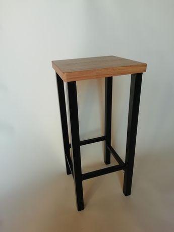 Taboret drewniany hoker stołek krzesło barowe loft rustic