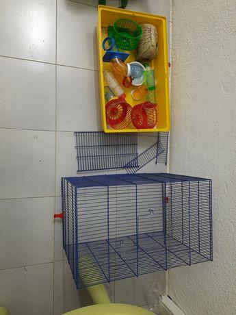 Gaiola para hamsters e acessorios diversos