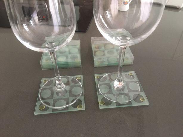 Conjunto 4 bases de copos em vidro