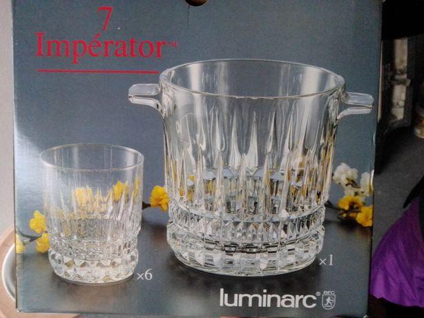 Conjunto Balde Gelo + 6 Copos cristal LUMINARC