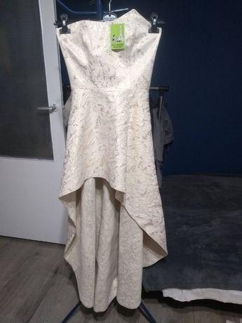 Piękna sukienka bez ramiączek, mieniąca się na złoto r. S
