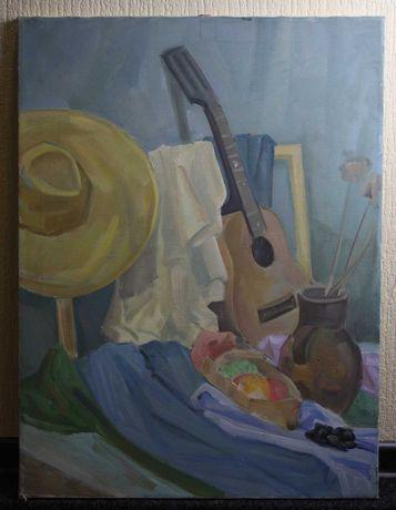 Картина маслом натюрморт с гитарой
