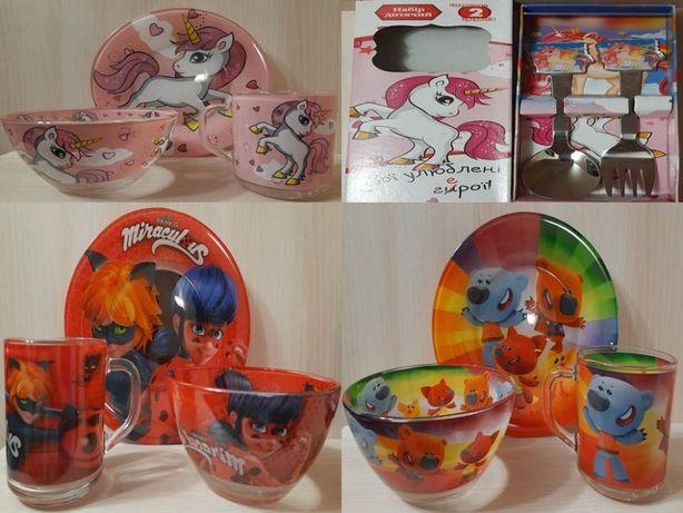 Детские наборы посуды (Единорог,Герои в масках,Мимижки)