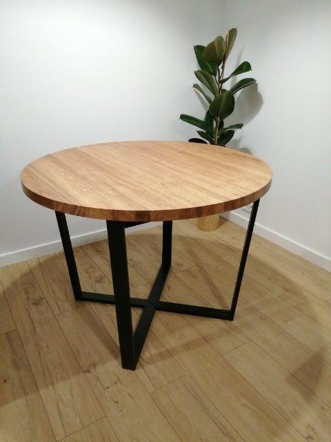 Okrągły stół rozkładany loft.Blat dębowy grubość 4 cm.