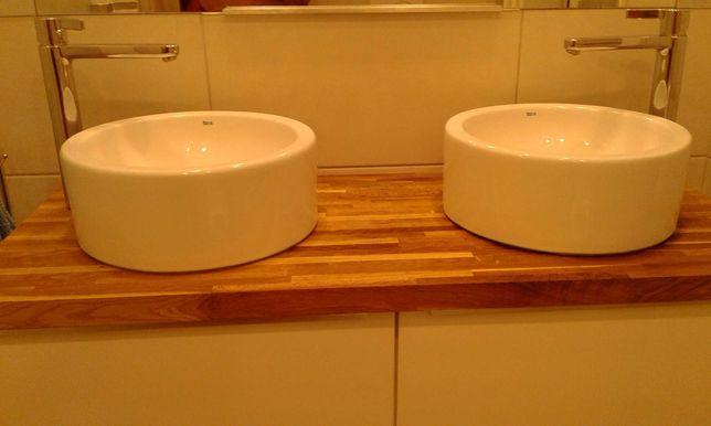 Umywalki nablatowe Roca + baterie Hans Grohe Metris S + blat dębowy