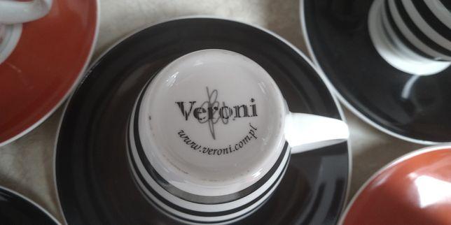 Veroni/ zestaw kawowy 5+5/paseczki/czarny/czerwony