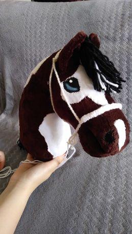 Hobby horse +kij + halter, konik do skoków ręcznie szyty Łaciaty