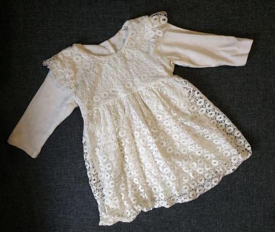 Красивое кружевное молочное платьице