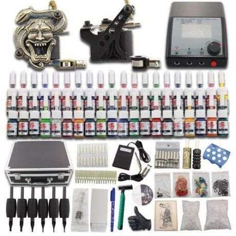 Novo kit profissional tatuagem 2 máquinas 40 tintas e todo o material