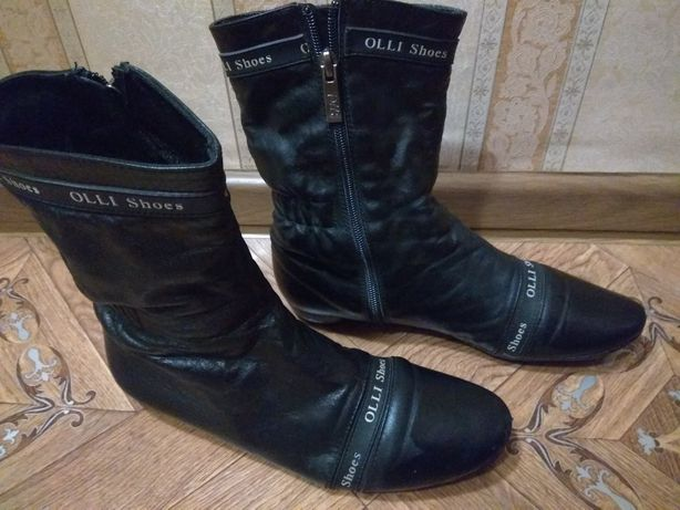 Ботинки кожаные с полоской