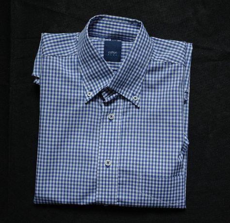 новая рубашка Cotton blu ворот 37-38 см , хлопок