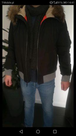 Czarna Męska kurtka z kapturem GAP