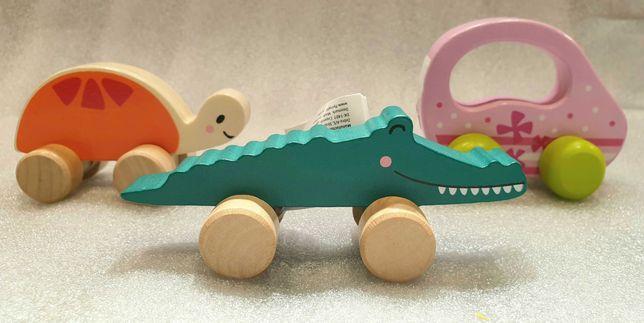 Zestaw 3 drewnianych pojazdów Samochodzik jeżdżący krokodyl i żółw