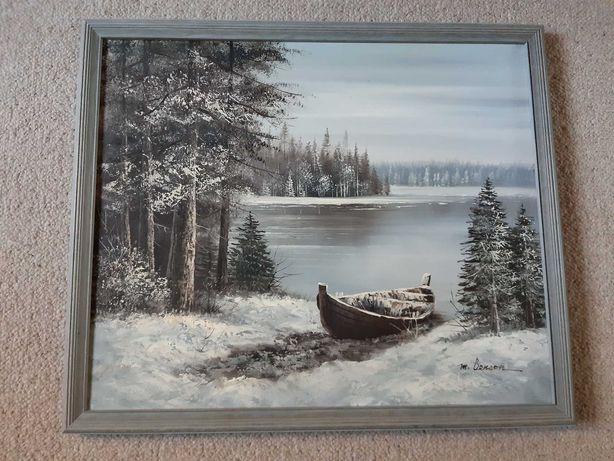 Obraz - Zima nad jeziorem - olej, płótno, rama