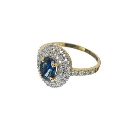 Anel antigo em ouro, safira e diamantes