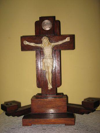 krzyz PASYJNY ! swieczniki Jezus drewno antyk ART DECO datowanie 1914
