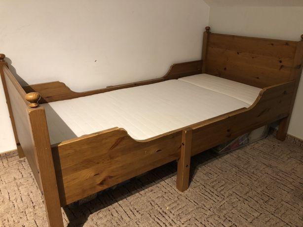 Drewniane łóżko Ikea Leksvik rozsuwane rośnie z dzieckiem + materac