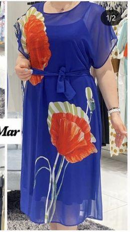 Платье с маками 54,56,58 размер