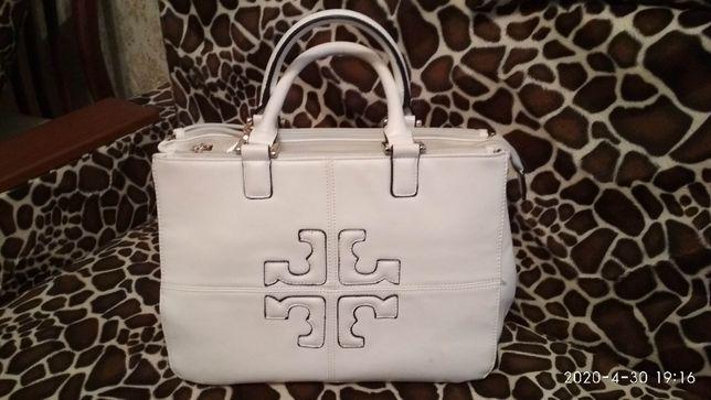 Белая сумка, экокожа, с короткими ручками