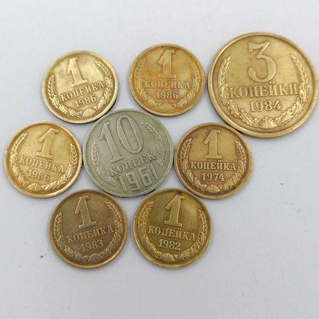 Коллекция 1 копейка 1974 1982 СССР 10 копеек 1961 3 копейки