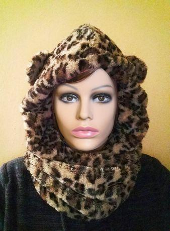Gola/Gorro padrão leopardo com orelhas