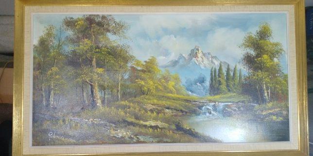 """Большая картина масло холст """"Горная река"""", Европа, подпись 50*90"""