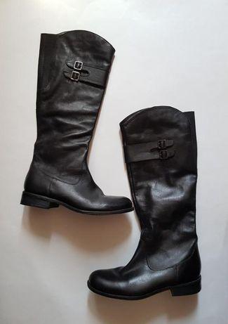 Черные высокие кожаные сапоги,классические демисезонные сапоги Janet D