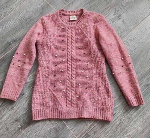 Супер стильный тепленький свитер для девочки с бусинками 6-8 лет