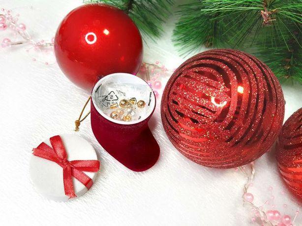 Новогодний подарочный набор сережек в сапожке