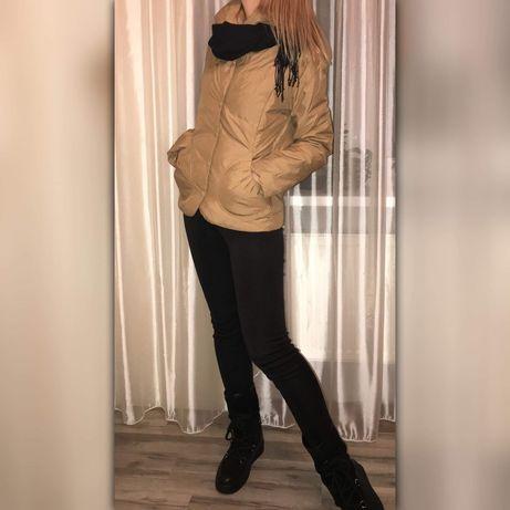 Куртка Zara (пух, перо),цвет капучино.