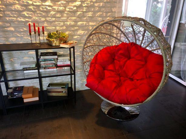 fotel obrotowy Violet technorattan szary 105x105cm