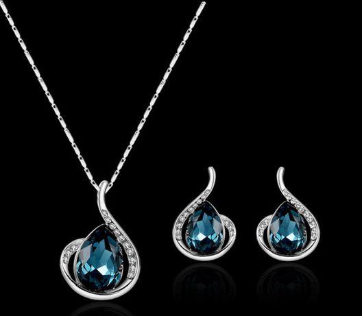 Komplet biżuterii w kształcie kropli wody z szafirowym kamieniem
