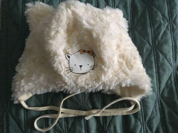 Ciepła zimowa puchata czapka kotek dziewczynka wyprawka