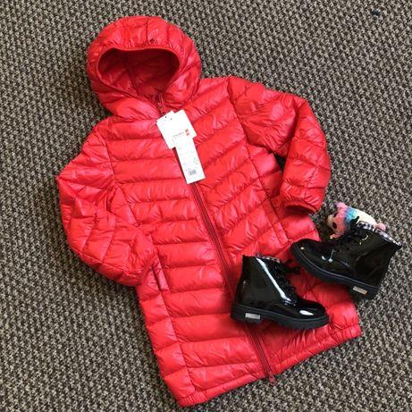 Детское зимнее пальто пуховик красный , размеры 110-150