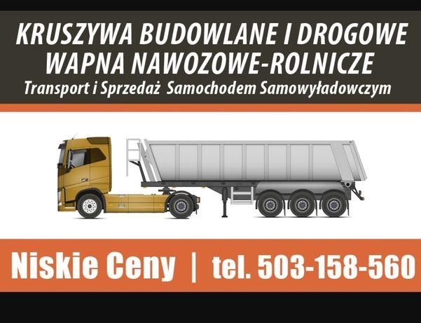 Transport kruszyw, wapna rolniczego,