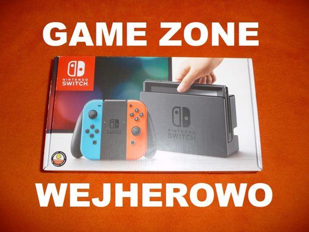 Nintendo SWITCH 32GB Neon + walizka + gra + szkło = Wejherowo