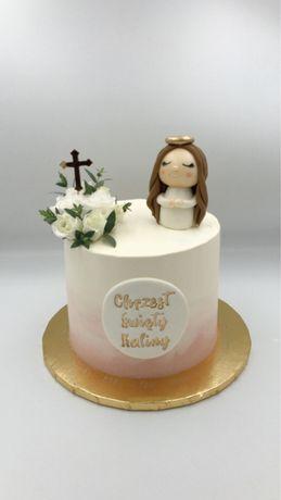 Figurka z masy cukrowej Anioł Aniołek na tort Chrzest