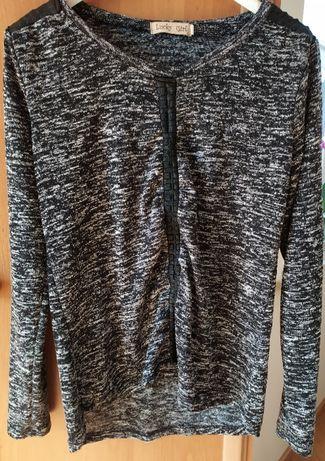 Sweter melanżowy z aplikacjami ze skóry, rozmiar S/M