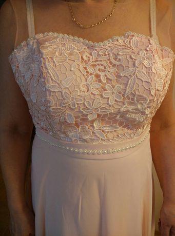 Długa sukienka, różowa, łososiowa, perły,na wesele, studniówka