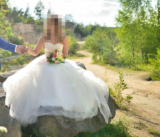 Suknia ślubna princeska falbany CENA DO UZGODNIENIA