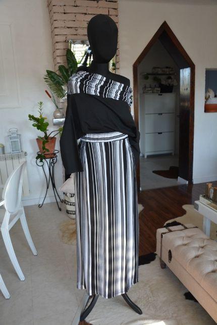 46 48 52 komplet zestaw bluzka czarna +spódnica paski sukienka pasy 50