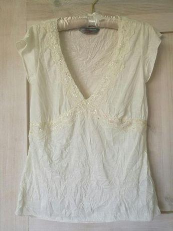 Kremowa bluzka top wykonczona koronka dorothy perkins uk L nowa